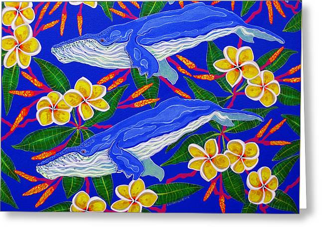 Three Whales  Greeting Card by Debbie Chamberlin