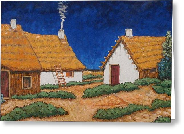 Three White Cottages  Greeting Card by Frank Morrison