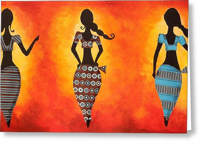Dark Orange Drawings Greeting Cards - Three women Greeting Card by Nirdesha Munasinghe