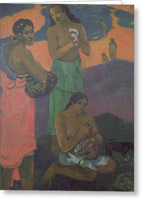 Caring Mother Paintings Greeting Cards - Three Women on the Seashore Greeting Card by Paul Gauguin