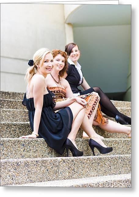 Three Young Attractive Woman Sitting On Steps Greeting Card by Jorgo Photography - Wall Art Gallery