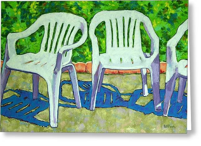 Lawn Chair Pastels Greeting Cards - Threes a Crowd Greeting Card by Mary McInnis