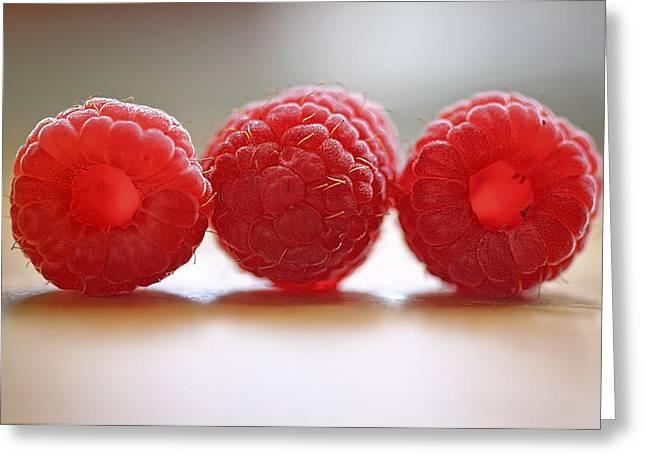 Raspberries Greeting Cards - Threes Company Greeting Card by Evelina Kremsdorf