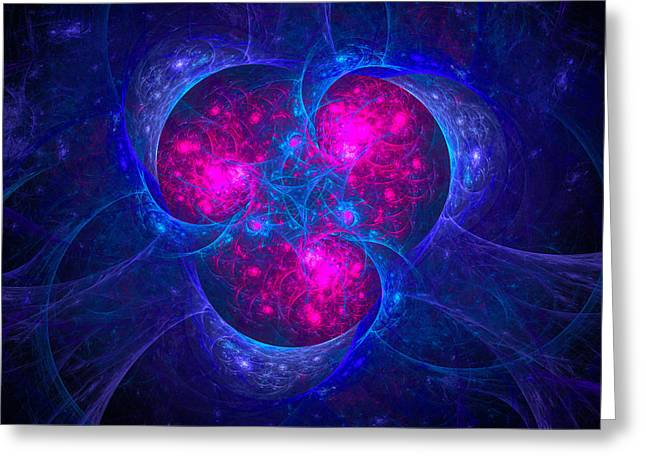 Magenta Fuchsia Greeting Cards - Threesome - fractal art magenta and blue Greeting Card by Matthias Hauser