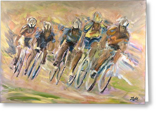 Bike Race Greeting Cards - Thrill Of The Chase Greeting Card by Jude Lobe