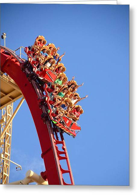 Warner Park Greeting Cards - Thrill Ride Greeting Card by Luke Pickard