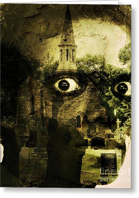 Eerie Greeting Cards - Thriller Greeting Card by Gillian Singleton