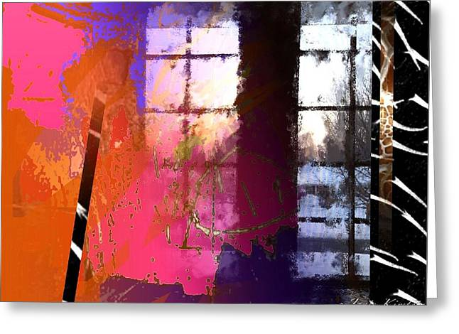 Abstract Handbag Drawing Greeting Cards - Through a Window 1 Greeting Card by Janis Kirstein