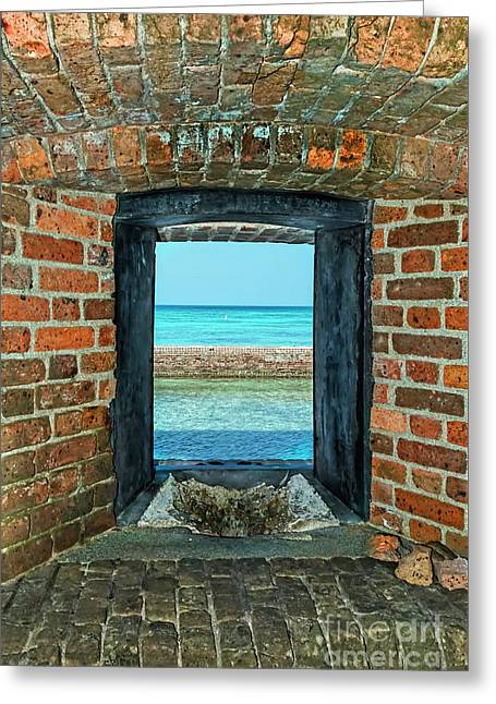 Dry Tortugas Greeting Cards - Through an Armory Window Greeting Card by Kay Brewer