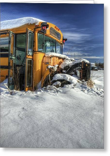 Rural School Bus Greeting Cards - Through and Through Greeting Card by Wayne Stadler