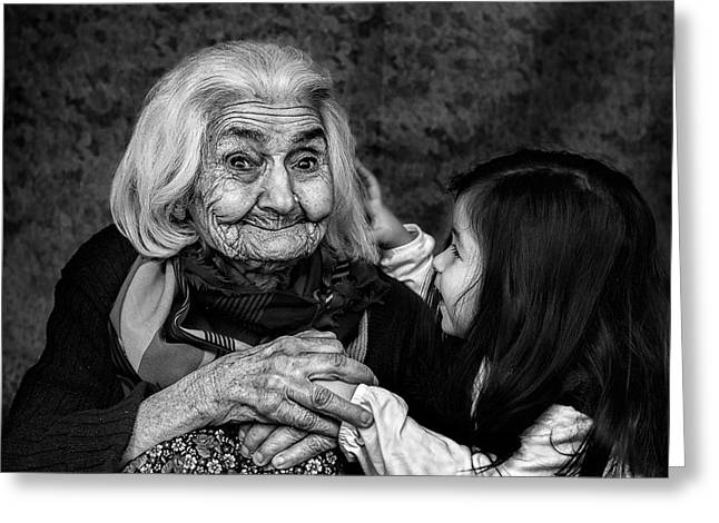 Smiling Photographs Greeting Cards - Through Generations Greeting Card by Oguz Ipci