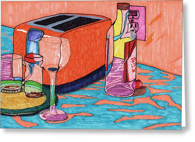 Toaster Drawings Greeting Cards - Through Glass Greeting Card by Judith Livingston