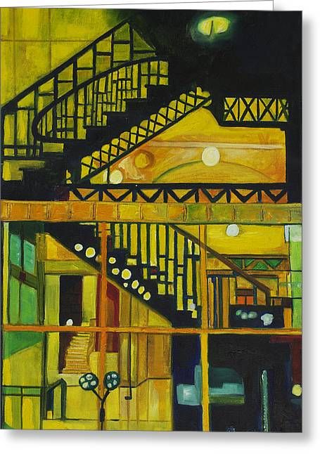 Spiral Staircase Paintings Greeting Cards - Through Parisian Glass Greeting Card by Patricia Arroyo