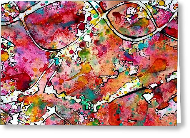 Through Rose Colored Glasses Greeting Card by Betty Lu Aldridge