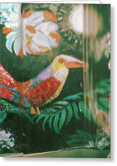 Through The Curtains Outside My Window In Paradise Greeting Card by Anne-Elizabeth Whiteway