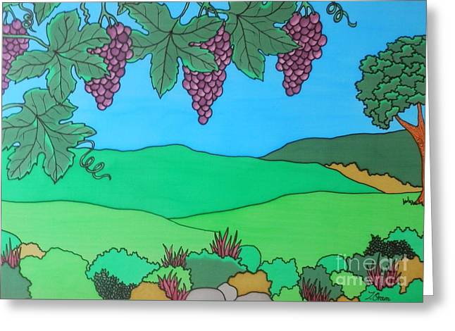 Blue Grapes Greeting Cards - Through The Grapevines Greeting Card by Joanne Oram