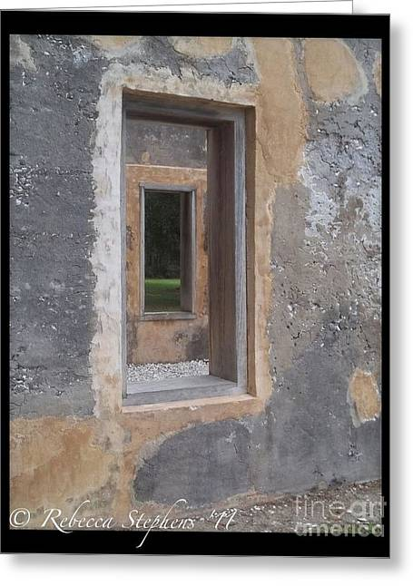 Historical Greeting Cards - Through the Horton Window Greeting Card by Rebecca  Stephens