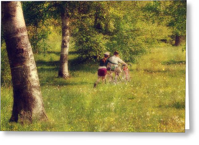 Spring Scenes Greeting Cards - Through the Meadow Greeting Card by Joann Vitali