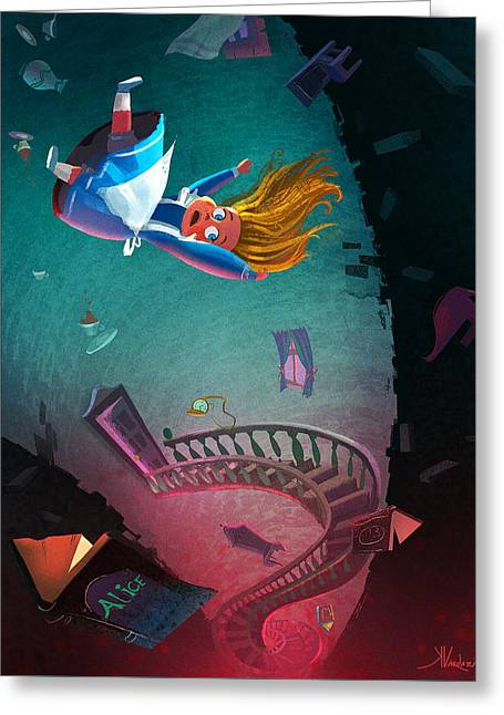 Through The Rabbit Hole Greeting Card by Kristina Vardazaryan