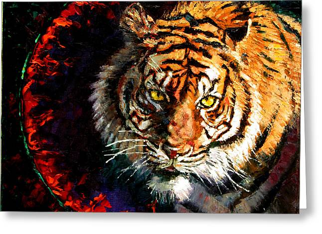 Bengal Greeting Cards - Through the Ring of Fire Greeting Card by John Lautermilch