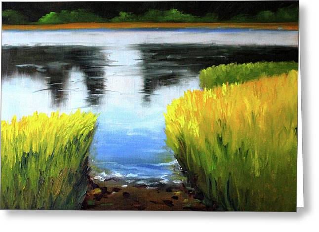 Through The Rushes Greeting Card by Nancy Merkle
