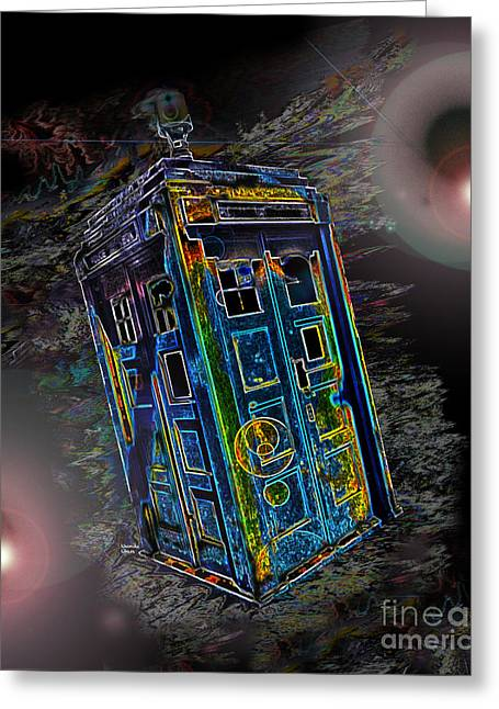 Conversing Digital Greeting Cards - Tardis - Through Time and Space Greeting Card by Rhonda Chase