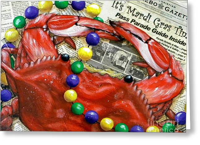 Crawfish Greeting Cards - Throw Me Somethin Greeting Card by JoAnn Wheeler