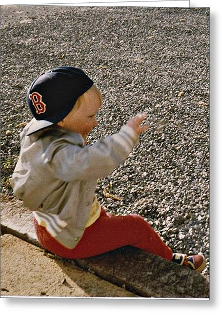Boston Red Sox Greeting Cards - Throwing Stones Greeting Card by Carol Costello
