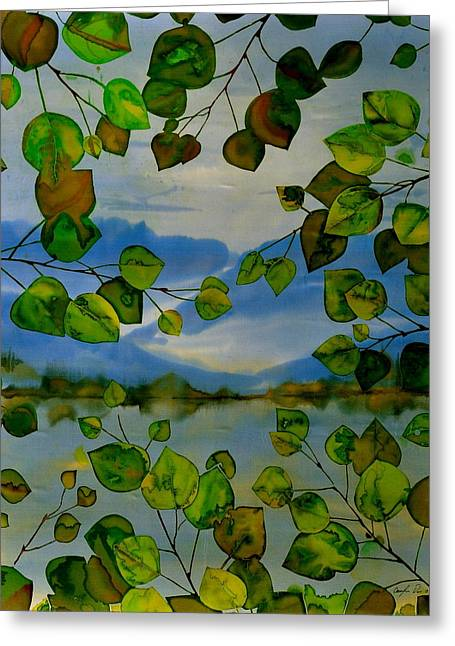 Lake Tapestries - Textiles Greeting Cards - Thru The Aspen Greeting Card by Carolyn Doe