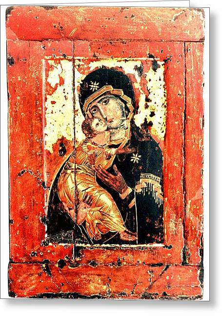 Russian Icon Paintings Greeting Cards - ThThe Virgin Eleusa of Vladimir - 17 Century Greeting Card by Evgeni  Andreev