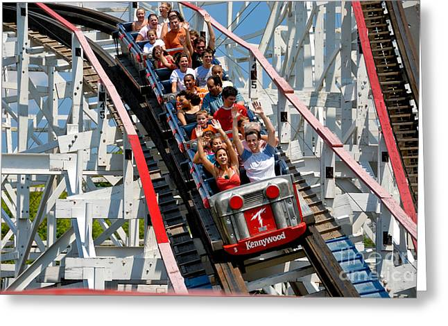 Danger Greeting Cards - Thuderbolt Roller Coaster Kennywood Park Greeting Card by Amy Cicconi