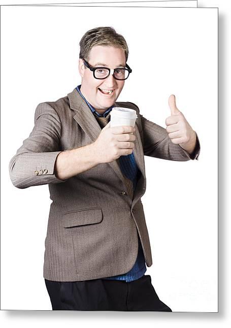 Jubilation Greeting Cards - Thumbs up beverage man. Good coffee Greeting Card by Ryan Jorgensen