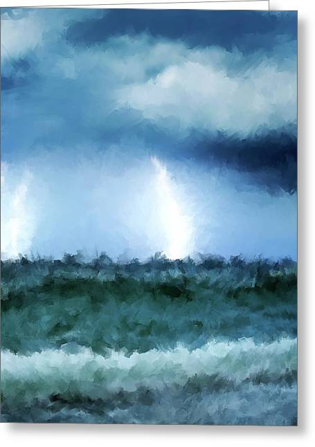 Time2paint Greeting Cards - Thunder and lightning at sea Greeting Card by Michael Greenaway