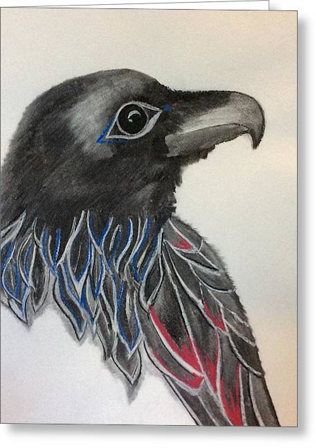 Raven Pastels Greeting Cards - Thunder Bird Greeting Card by Chris Wallwork