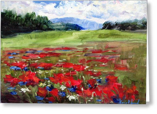 Thunder Clouds Over Bavarian Meadow Greeting Card by Karin Leonard