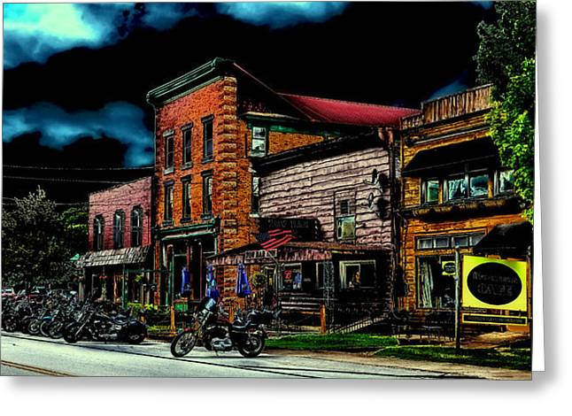 Corner Cafe Greeting Cards - Thunder in Old Forge New York Greeting Card by David Patterson