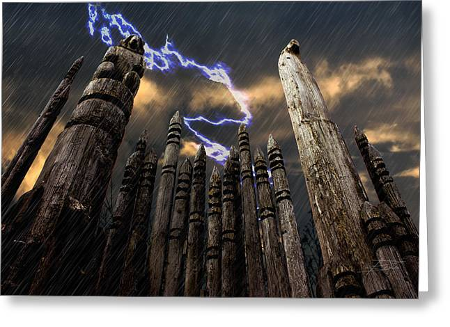 Wooden Sculpture Greeting Cards - Thunder Mountain Greeting Card by Barbara  White