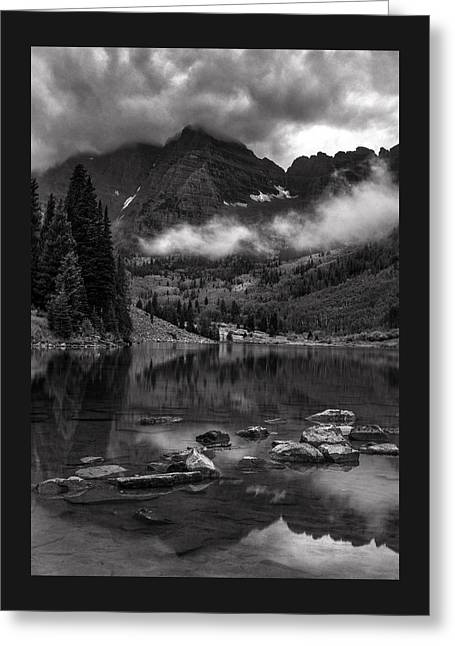 Thunder Rolls On The Maroon Bells    Greeting Card by Thomas Schoeller