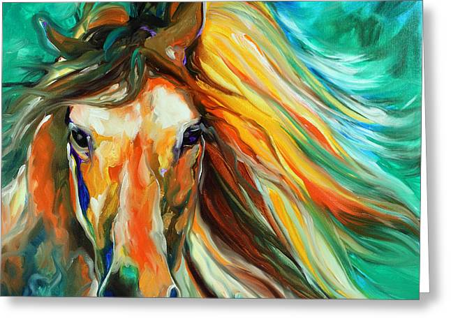 Abstract Equine Greeting Cards - Thunder Run Abstract Greeting Card by Marcia Baldwin
