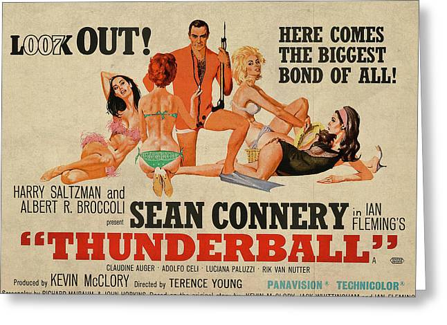 Thunderball James Bond Sean Connery Vintage Classic Movie Poster Greeting Card by Design Turnpike