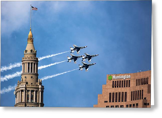 Military Airplanes Greeting Cards - Thunderbirds in Cleveland Greeting Card by Dale Kincaid