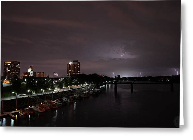 Thunderstorm Pyrography Greeting Cards - Thunderbolt and lighning  Greeting Card by Joseph Johns