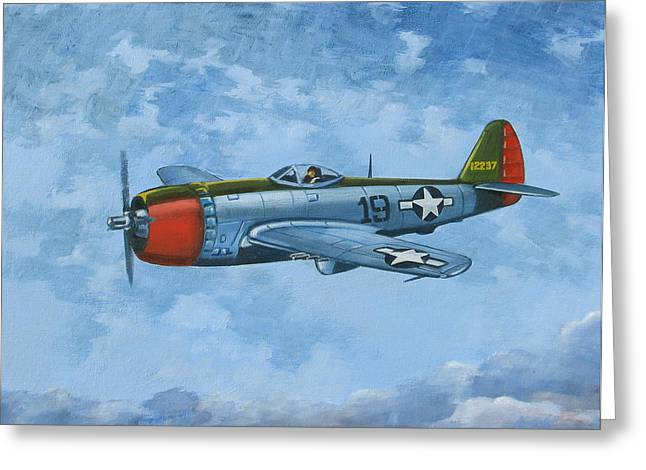 Military Airplanes Paintings Greeting Cards - Thunderbolt Greeting Card by Murray McLeod