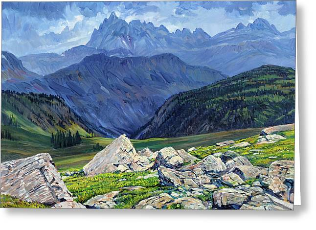 Thunderheads At Fox Creek Pass Greeting Card by Steve Spencer