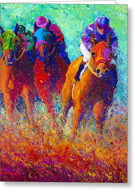 Horse Racing Paintings Greeting Cards - Thundering Hooves Greeting Card by Marion Rose