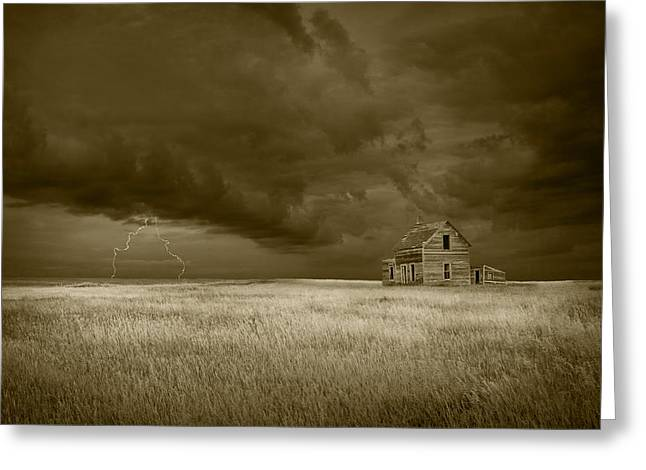 Lightning Photographs Greeting Cards - Thunderstorm on the Prairie in Sepia Greeting Card by Randall Nyhof