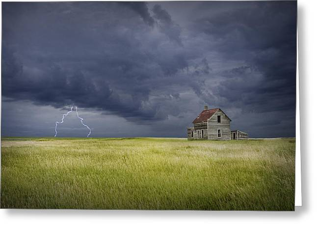 Abandoned House Greeting Cards - Thunderstorm on the Prairie Greeting Card by Randall Nyhof