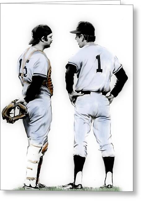 Yankees Greats Greeting Cards - Thurman Munson and Billy Martin Heart and Soul Greeting Card by Iconic Images Art Gallery David Pucciarelli