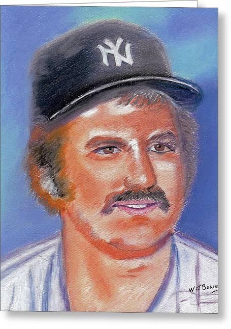 Baseball Pastels Greeting Cards - Thurman Munson Greeting Card by William Bowers