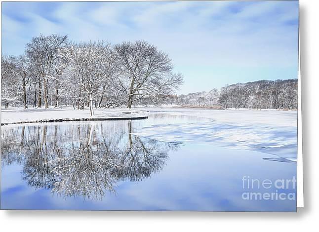 Serenity Landscapes Greeting Cards - The March Of Winter Greeting Card by Evelina Kremsdorf